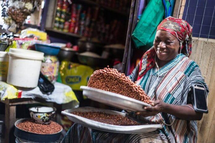 Dans un marché, en Afrique de l'Ouest